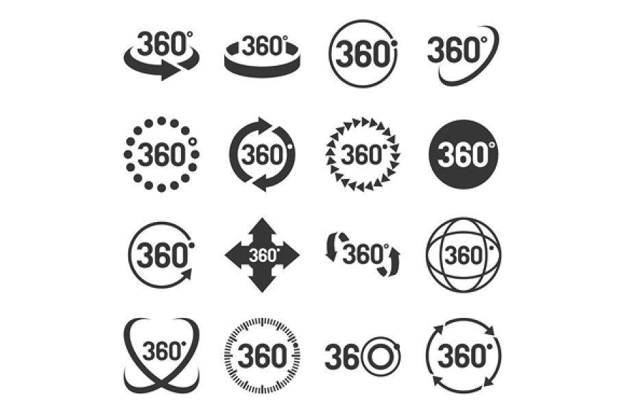 360 Degree Icons Set Icon Set Icon Design Inspiration Icon