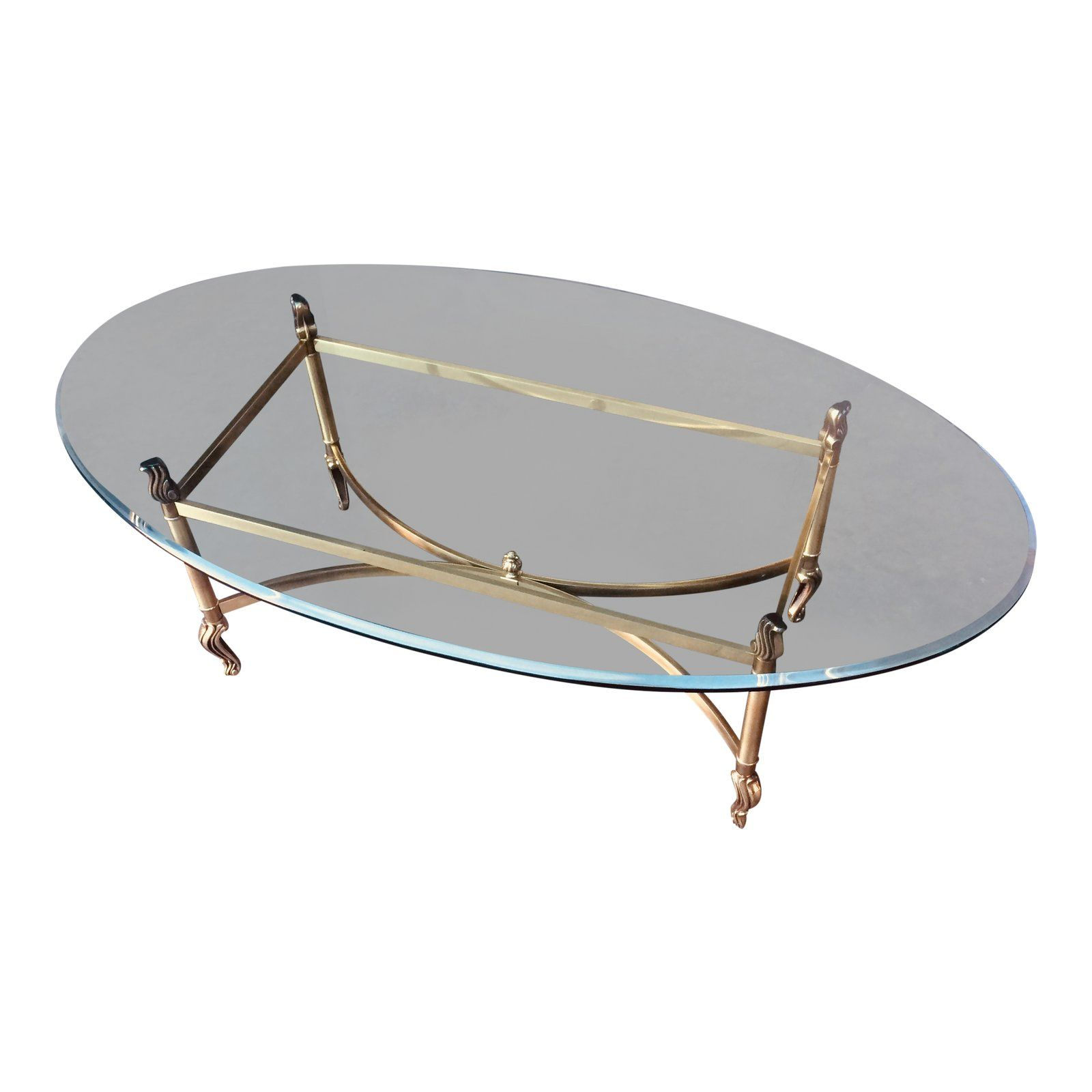 1970 S Oval Brass Glass Coffee Table Coffee Table Glass