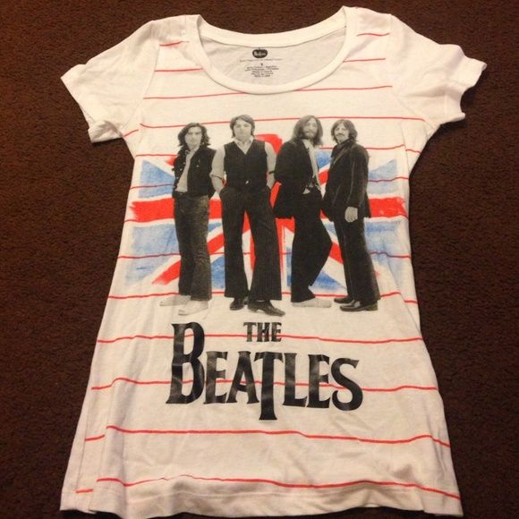 The beatles official merch graphic tee This is official beatles merch. In great condition, looks brand new. Features the beatles and red stripes. I love this tee! Very comfy. the beatles Tops Tees - Short Sleeve