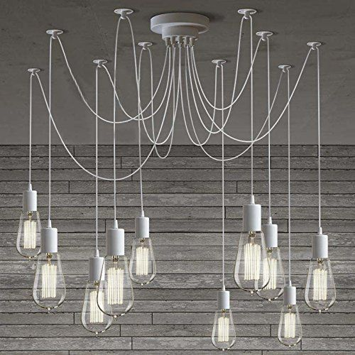 Susuo lighting modern chic multi pendant chandelier adjustable diy susuo lighting modern chic multi pendant chandelier adjustable diy ceiling spider pendant lighting color white amazon aloadofball