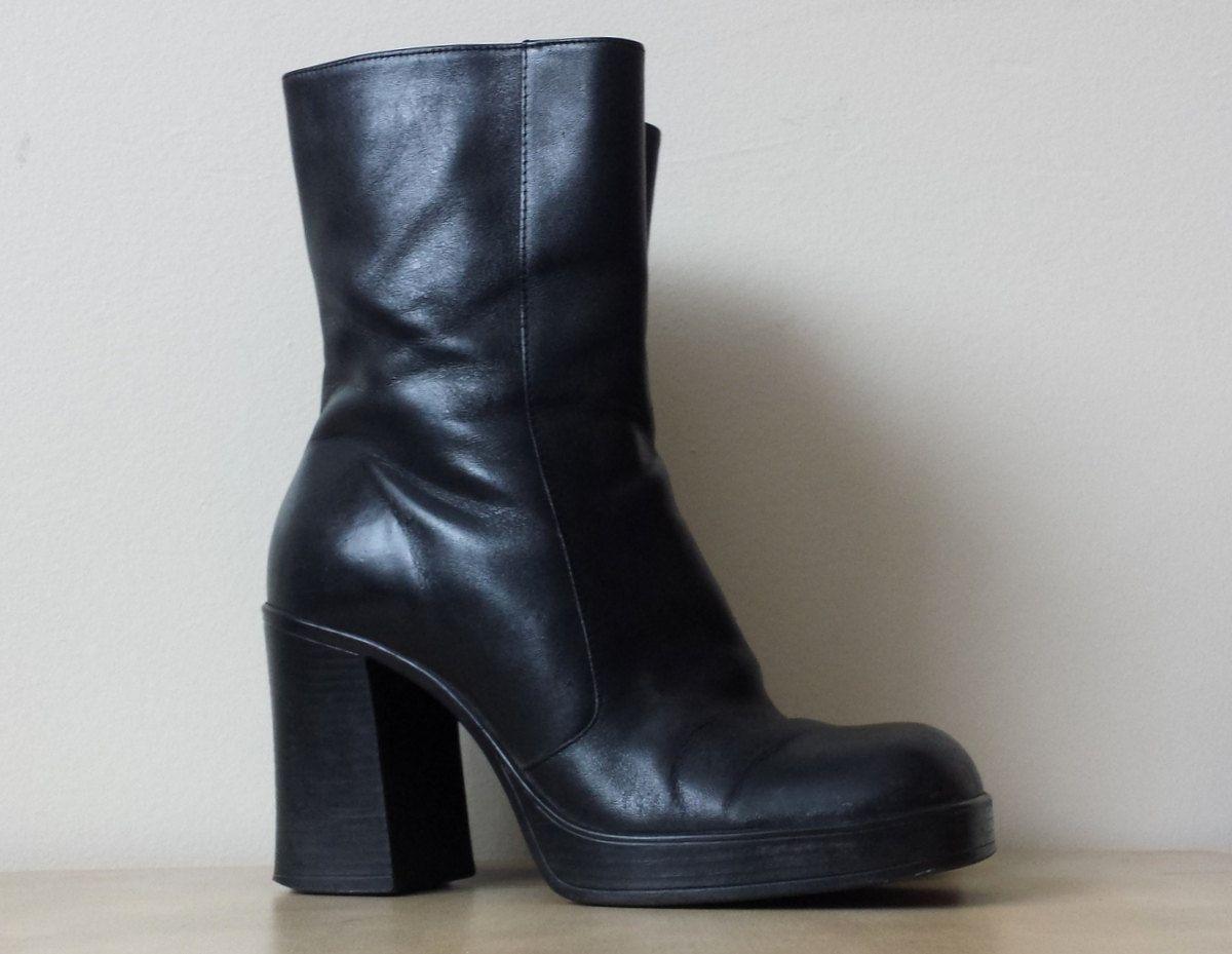 78dee60f7ffa 90s Black Platform Boots 1990s Faux Leather Platform Boots Grunge Platform  Boots Black Platforms Goth Black Platform Ankle Boots Size 8 8.5 Platform  Boots ...