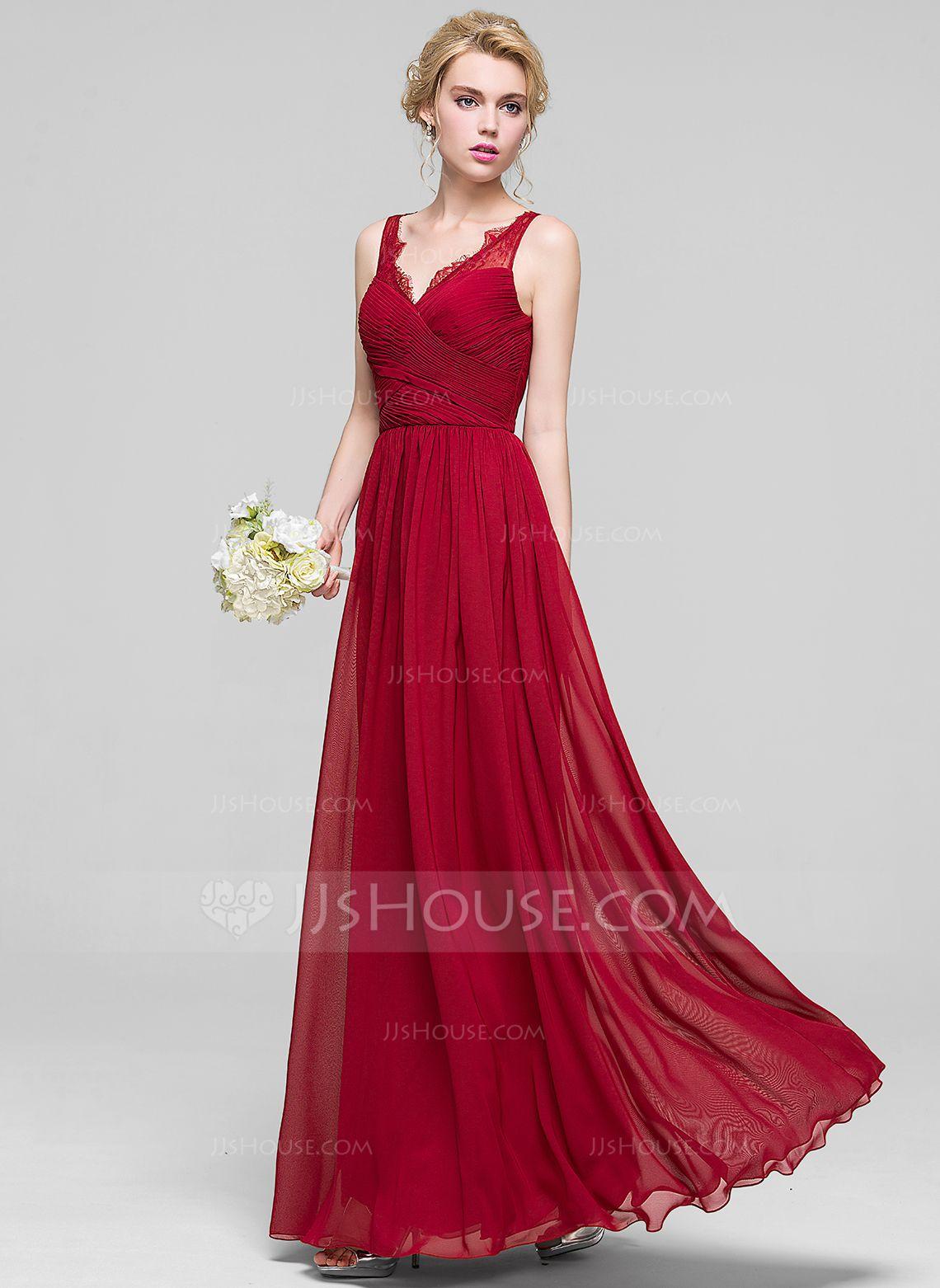 809234e94a1 A-Line Princess V-neck Floor-Length Ruffle Lace Zipper Up Regular Straps  Sleeveless No Burgundy Spring Summer Fall General Plus Chiffon Bridesmaid  Dress