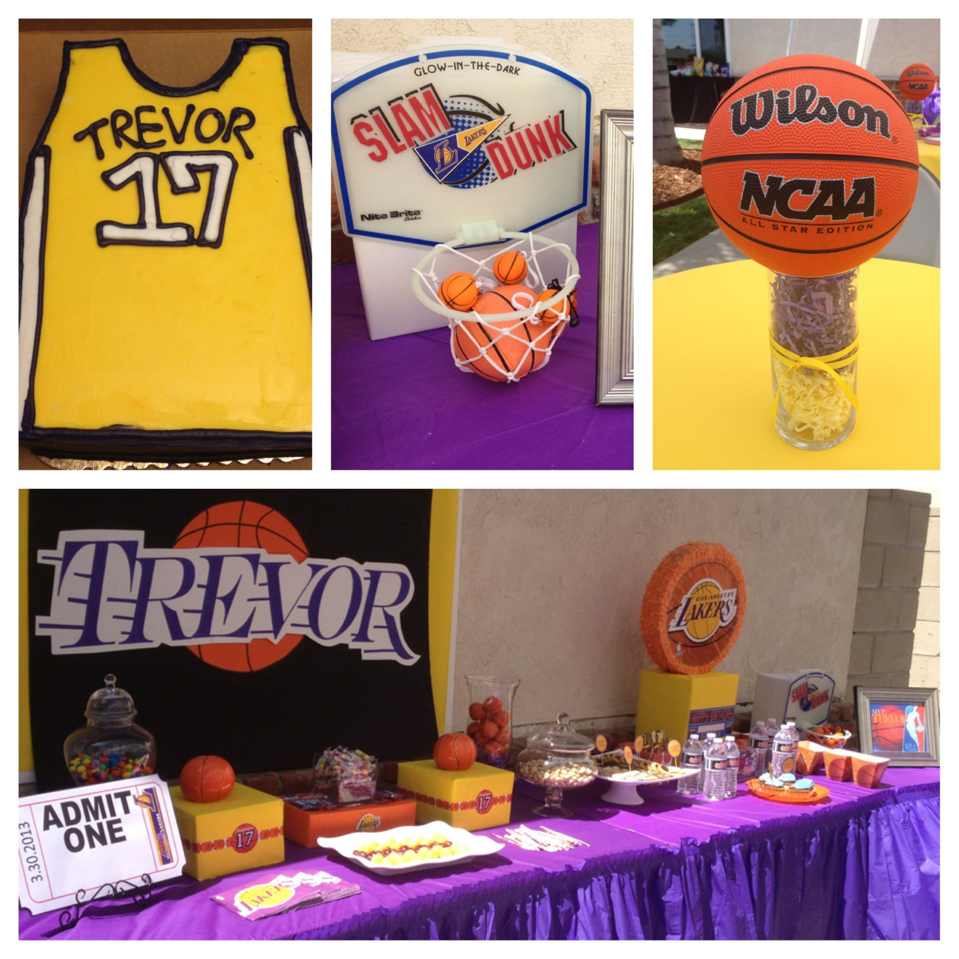 Trevor's 17th Lakers birthday party. Twin birthday