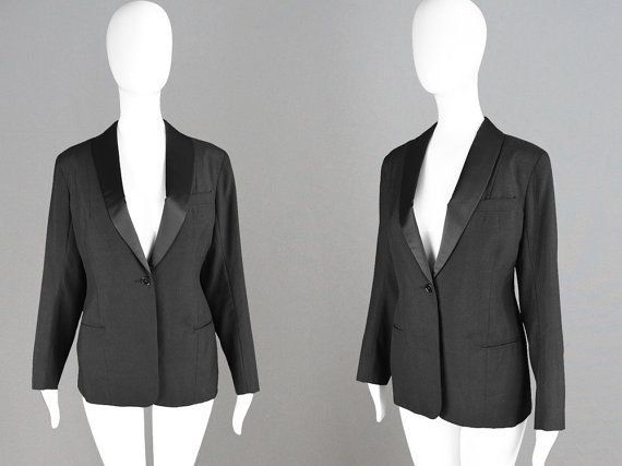 Vintage 60s Tuxedo Jacket Womens Smoking Jacket by ZeusVintage