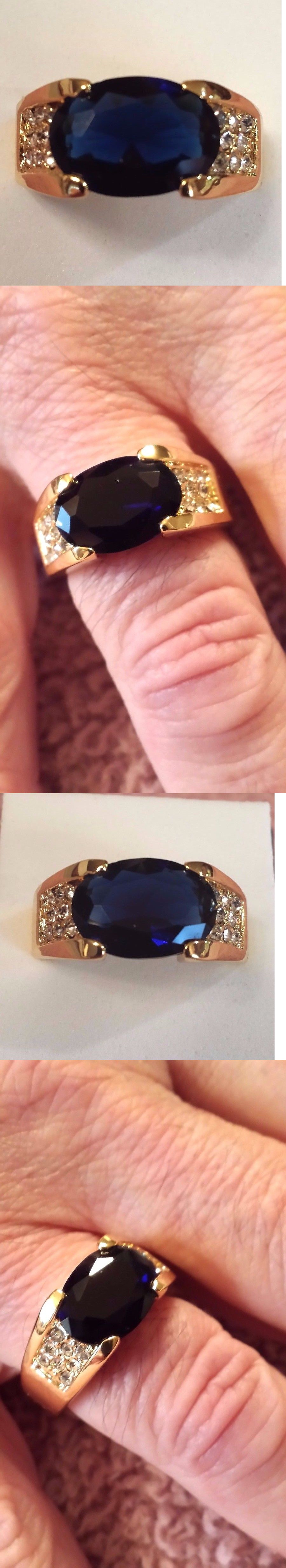 Men Jewelry: Mens 18K Yellow Gold Filled Sapphire Quartz And White ...