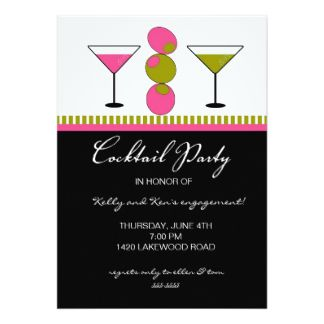 Cocktail Party Invitations in Hot Pink Martinis