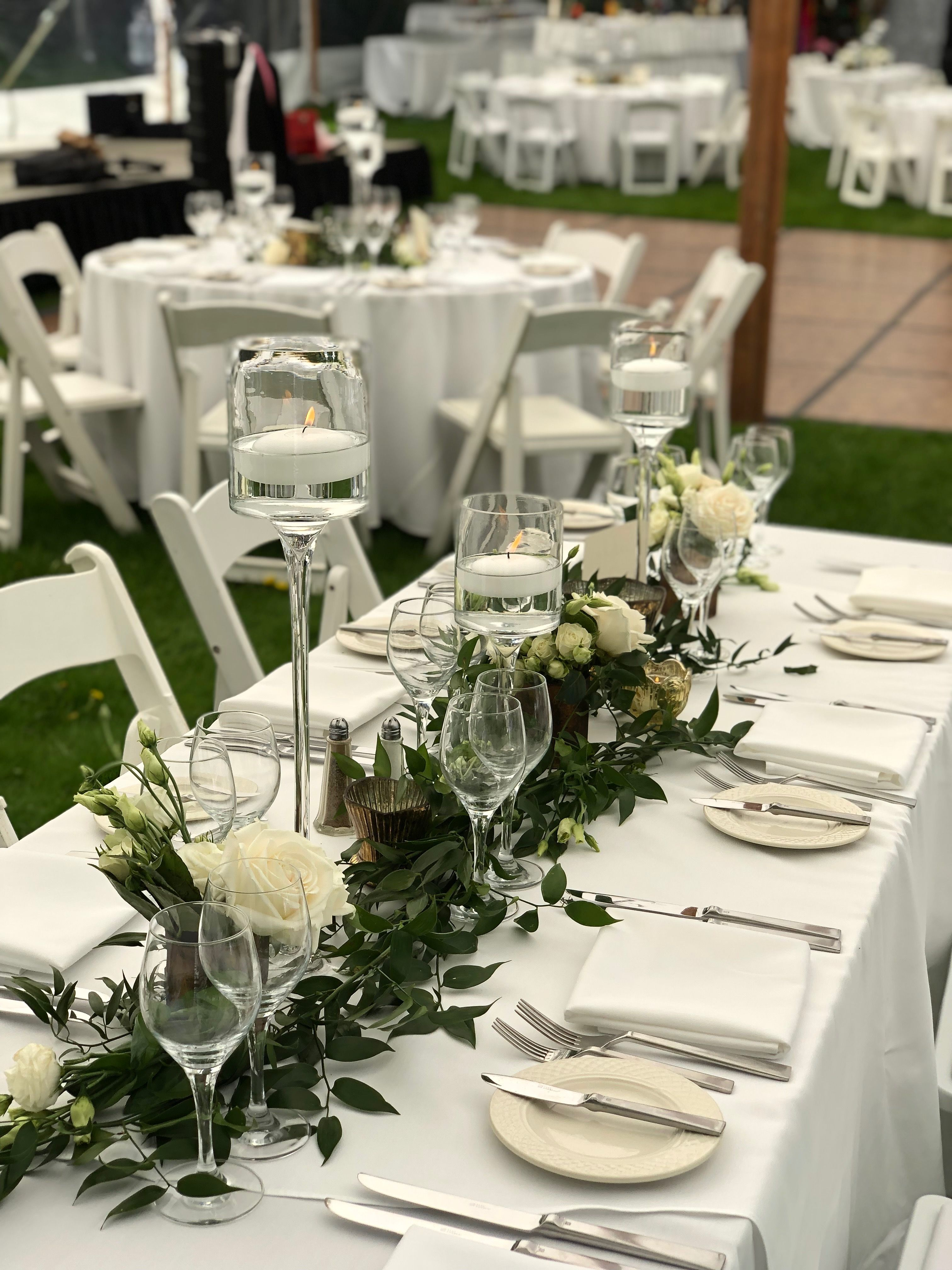 White And Green Garland Wedding Flowers Floating Candle