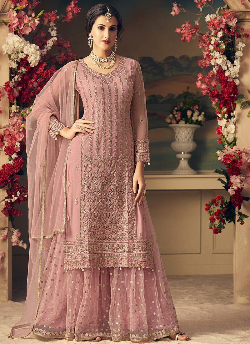 4cbec16035 Pink Mohini Net Party Wear Embroidered Sharara Suit. Net top, Net Bottom  with Santoon
