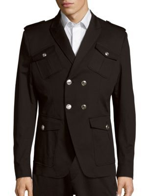 df8b5003 PIERRE BALMAIN Solid Multi-Pocket Cotton Overcoat. #pierrebalmain #cloth  #overcoat