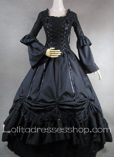 Cheap Gothic Victorian Lace Decoration Black Ball Gown Lolita Dress