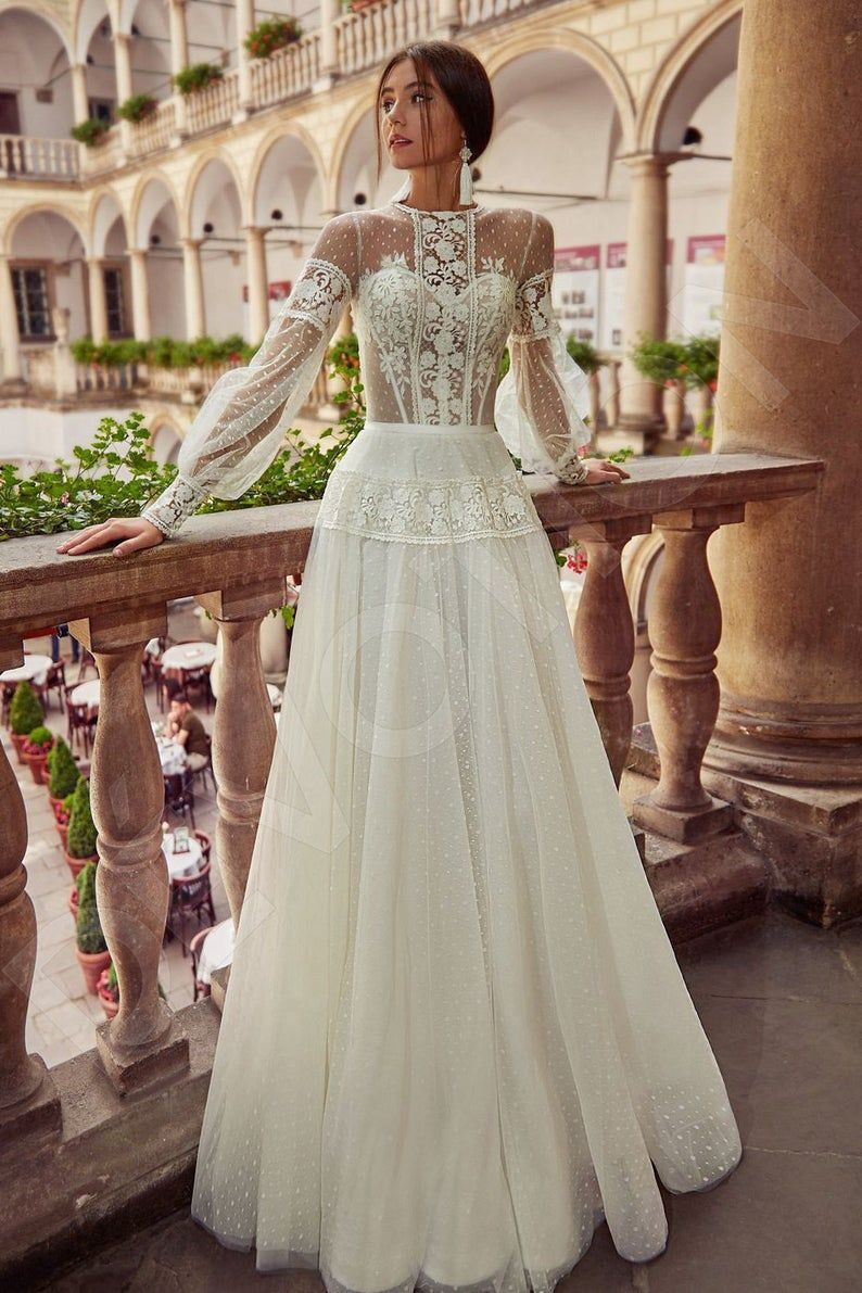 Individual Size A Line Silhouette Alsena Wedding Dress Modern Etsy Long Wedding Dresses Boho Wedding Dress Wedding Dresses [ 1191 x 794 Pixel ]