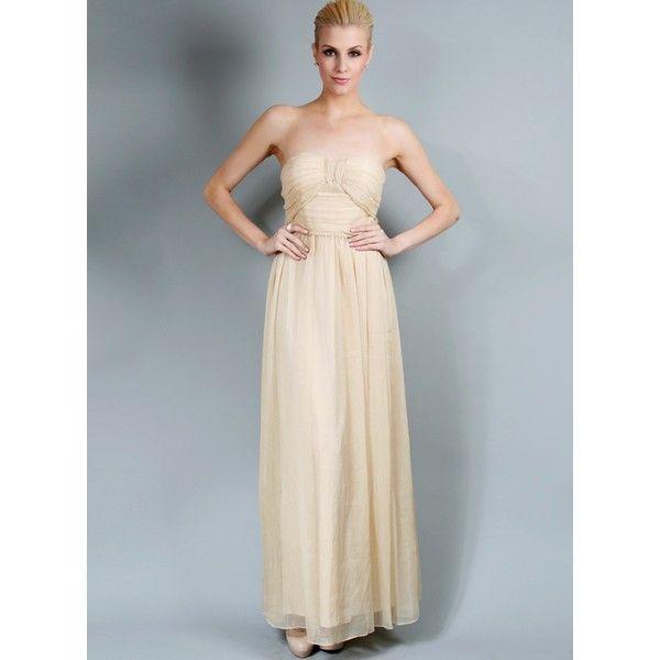Making History Strapless Dress for Bridesmaids | White Velvet via Polyvore