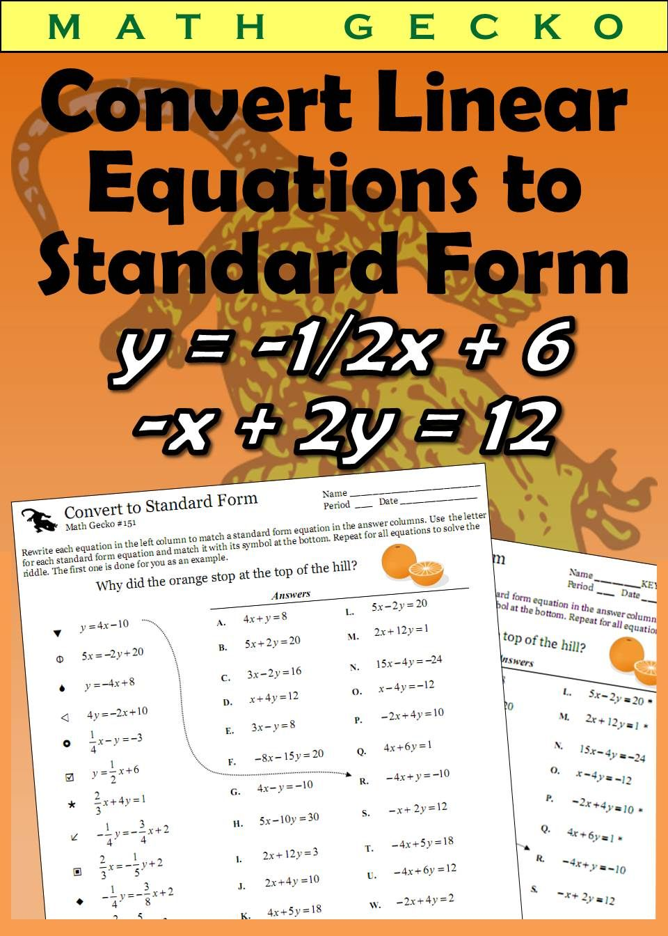 151 Convert Linear Equations To Standard Form Linear Equations Equations Standard Form