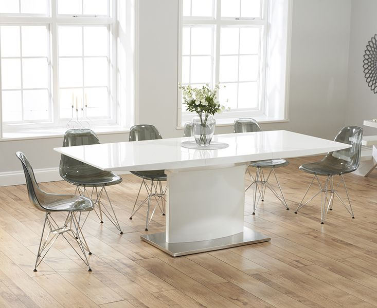 Hailey 160cm White High Gloss Extending Dining Table With Charles Eames Style DSR Eiffel Transparent Chairs
