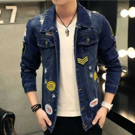 906f0ea67ad Fashion blue denim jacket with patches for men ripped jacket coatsa ...