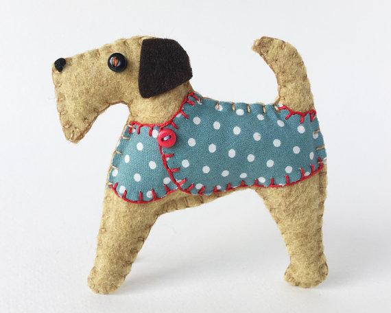 Felt Airedale Terrier Ornament Felt Dog Ornament Felt Christmas