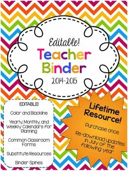 This EDITABLE colorful chevron binder will help you stay organized all year. It includes yearly, weekly, and monthly calendars (with holidays included). The binder also has an entire section of helpful documents to create for a substitute teacher and common classroom forms.