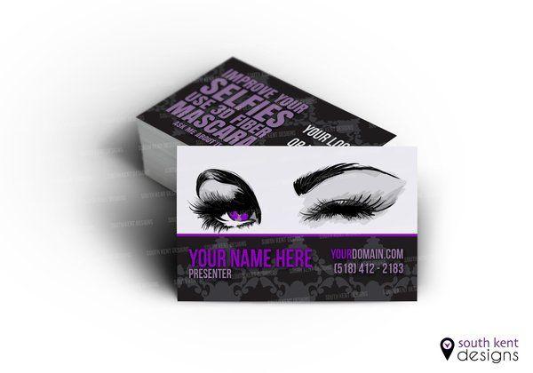 Younique Business Card 3d Fiber Mascara Purple Design Cartes De Visite Maquillage Bleu