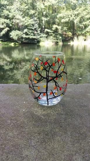 Autumn Leaves handpainted stemless wine glass