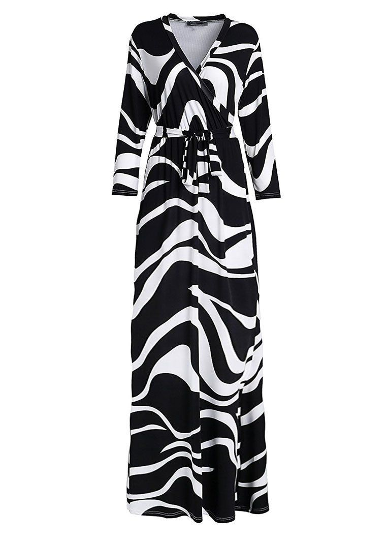 632cfa329f0 Locryz Women s V Neck 3 4 Sleeve Digital Floral Printed Party Loose Long  Maxi Dress with Belt S-3XL at Amazon Women s Clothing store
