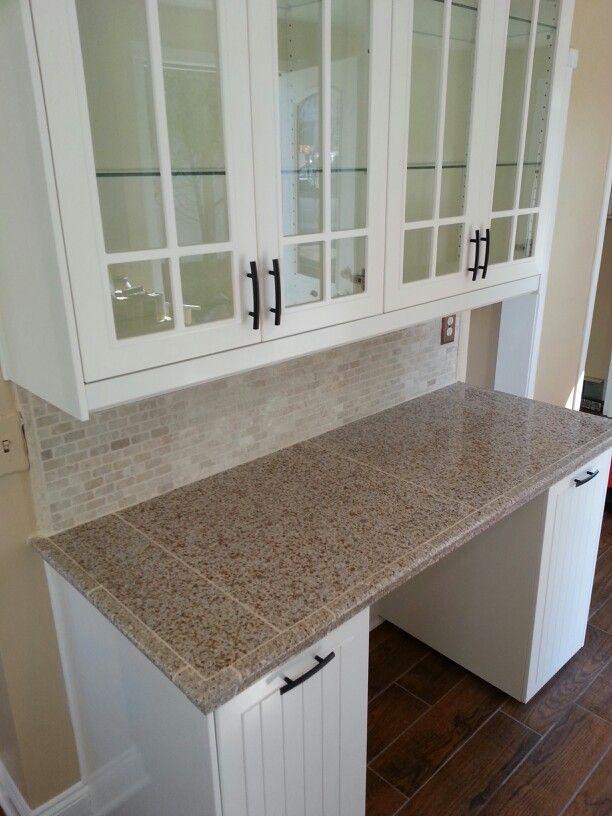 Ikea Cabinets,Granite Tiled Countertop, Stone Backsplash