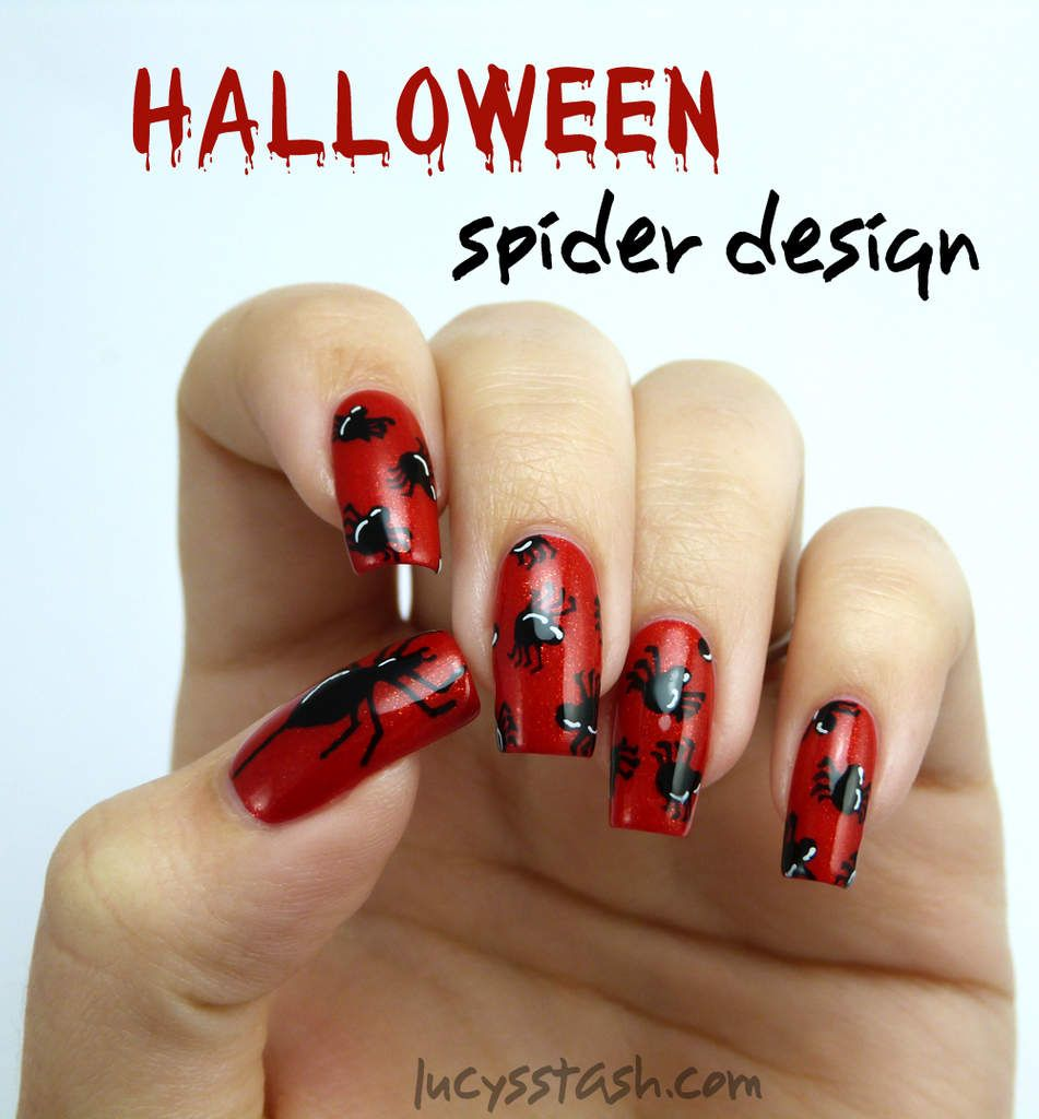 piCture pOlish Monday: Halloween Spiders Nail Art over ...