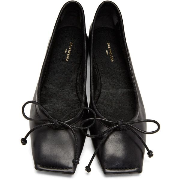 50520bb9d9 Balenciaga Black Square Ballerina Flats (€450) ❤ liked on Polyvore  featuring shoes, flats, square toe ballet flats, ballet flat shoes, flat  shoes, ...