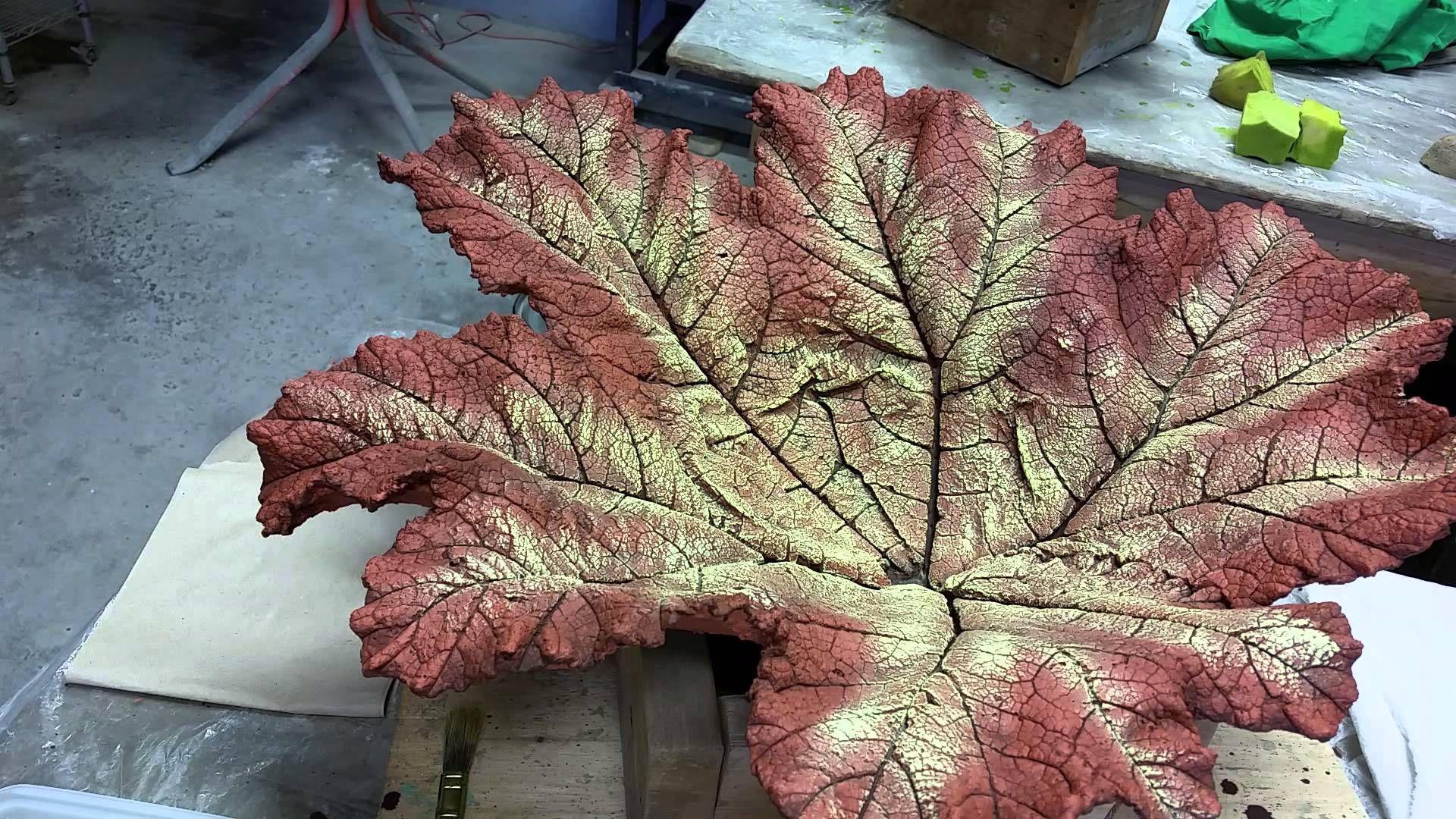 Concrete Gunnera Leaf Dry Brush Technique Tutorial Concrete Leaves Cement Leaves Dry Brushing
