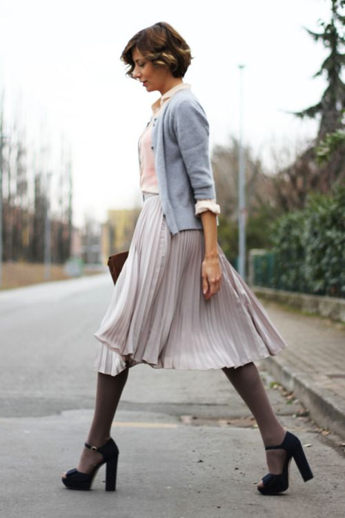 84613667913 grey flowing pleated skirt grey tights black chunky heels light blue three  quarter length cardigan over white button up pink top short brown cut with  curl ...