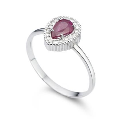 5f0b9195048 Anel Ouro Branco Diamantes e Rubi Classic Oriental