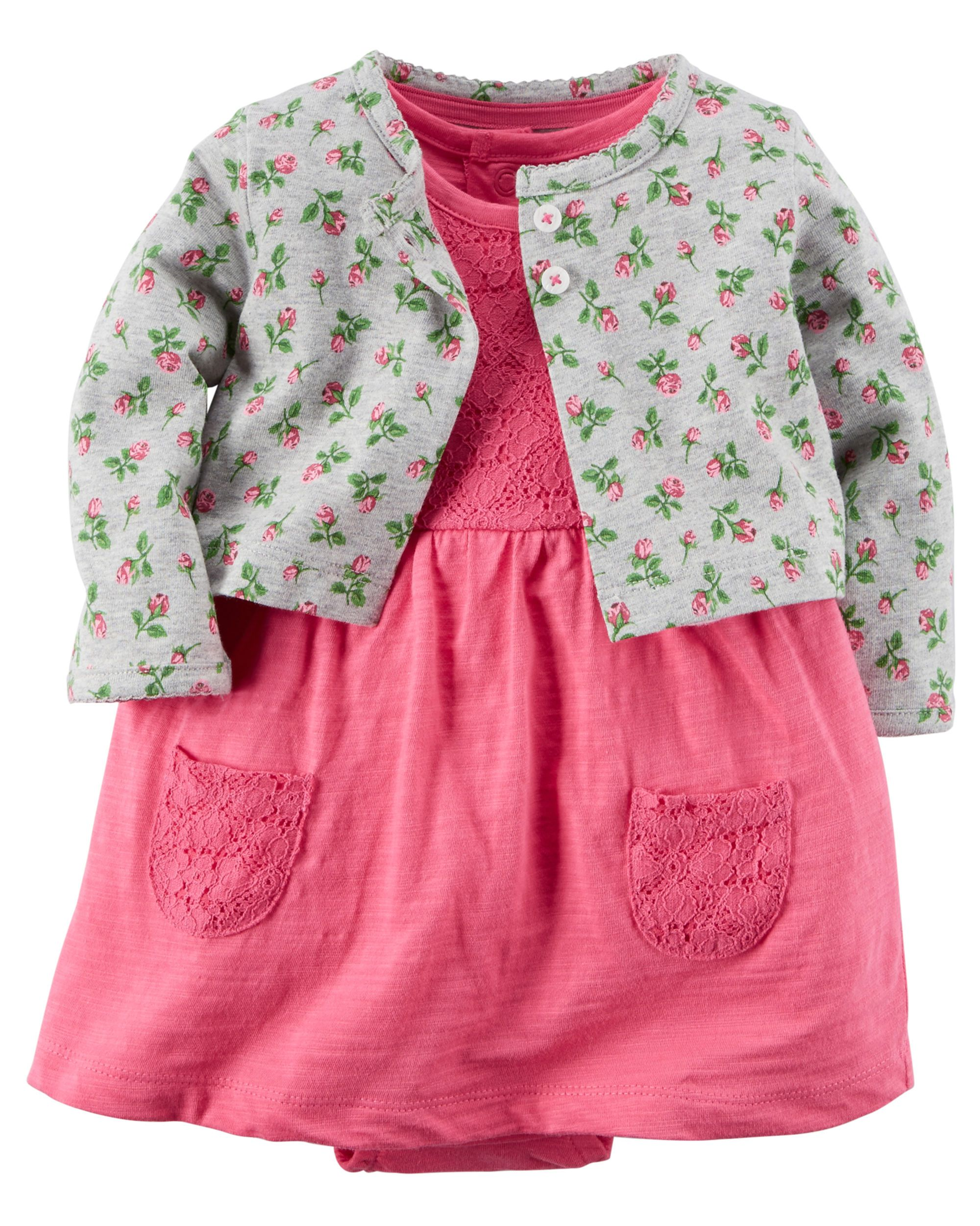Carters Baby Girls Floral Bodysuit Dress Cardigan Set