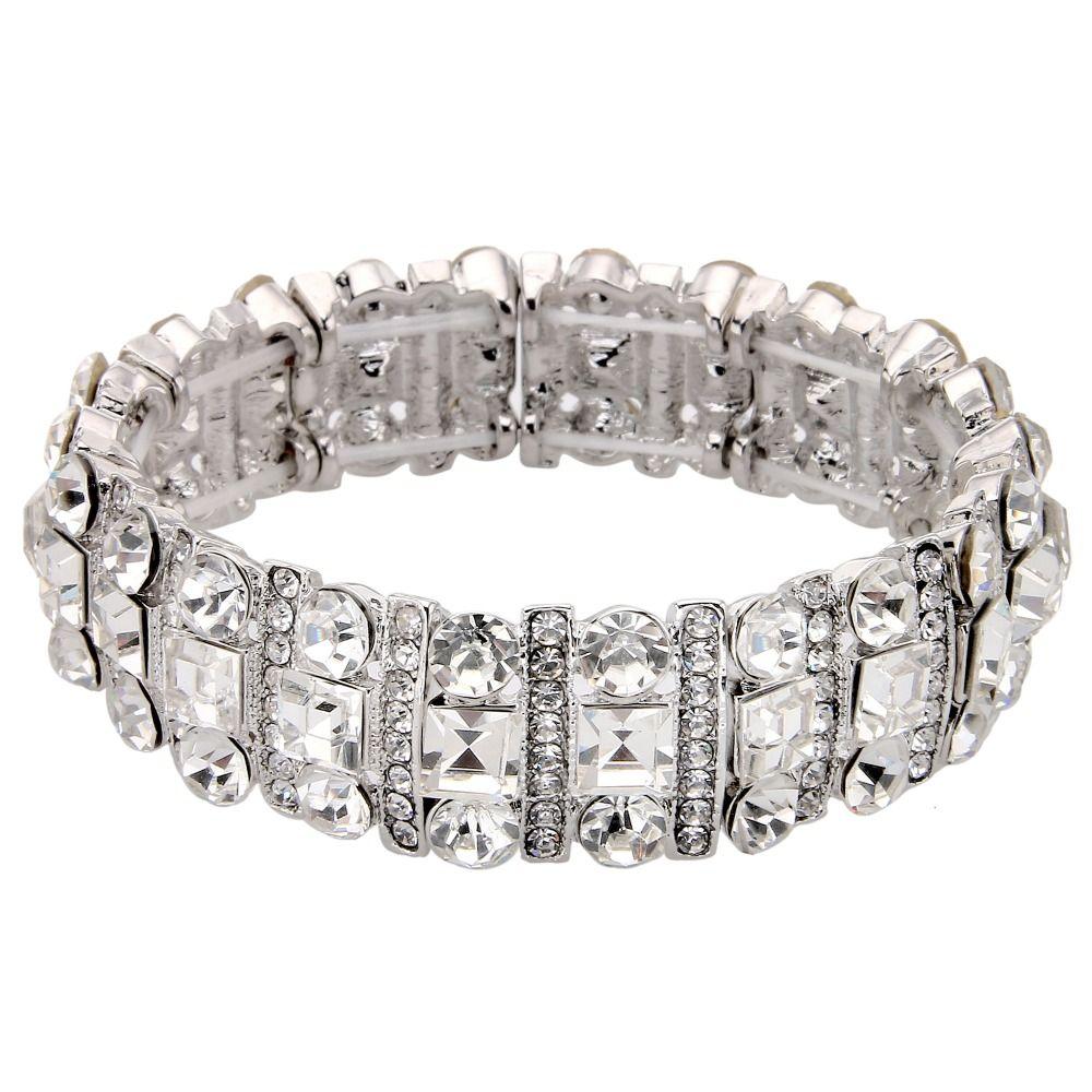 Bella Silver Plated Bridal Bracelet Bangle Square Clear Rhinestone Austrian Crystal Cuff Stretch For Wedding