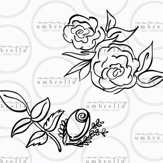 Roses Svg Roses Vector Hand Drawn Silhouette Cut File Flower Svg