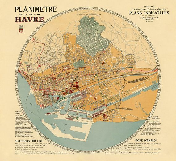 Map Of France Le Havre.Planimetre De La Ville De Havre Le Havre Old Map Print Archival