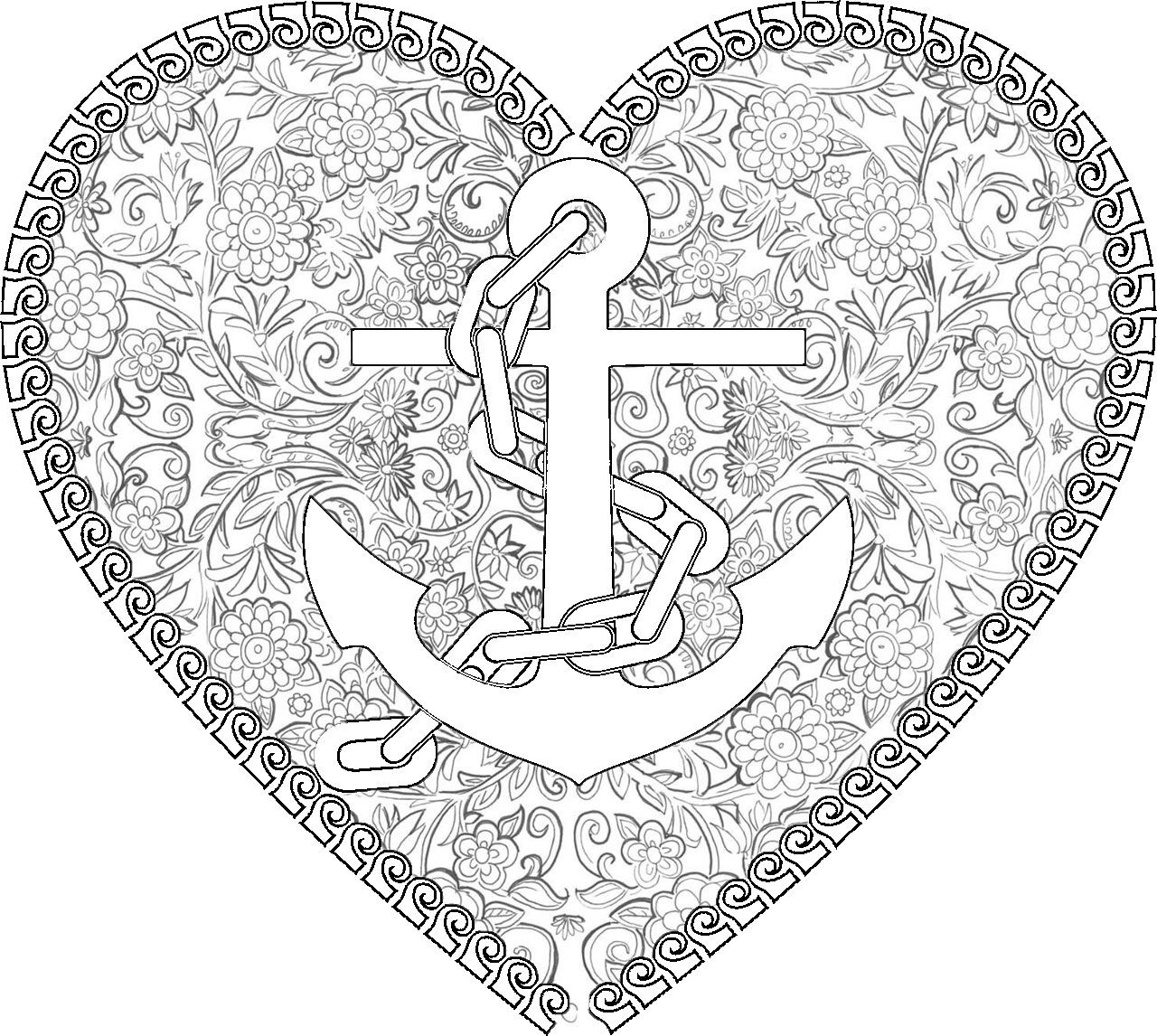 Adult Coloring Pages Anchor 1 Heart Coloring Pages Love
