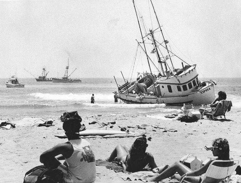 Ship aground off Redondo Beach 1960's.