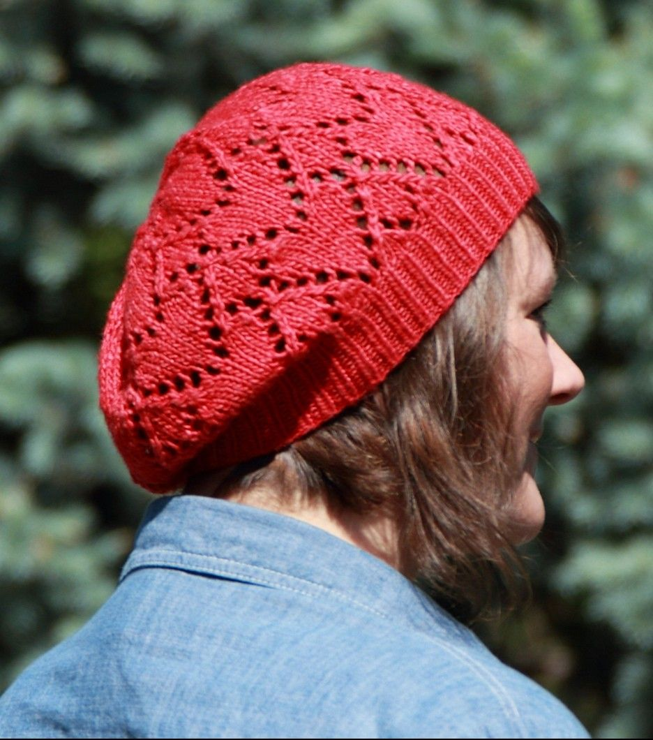 Free knitting pattern for Ruby Red Heart Hat a slouchy beret with ...