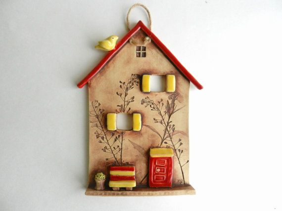 Ceramic House Wall Hangingclay Housepottery By Potteryhearts Seramik Sanati Yaratici Tas Seramik