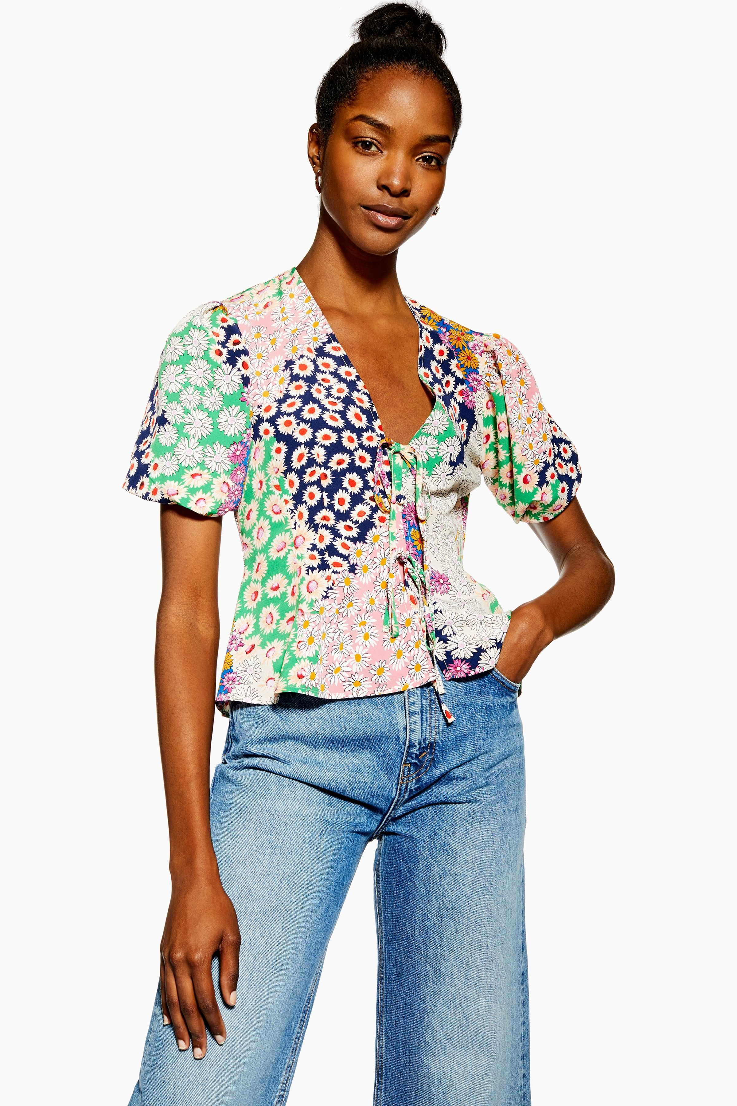 145416fd895673 Mixed Floral Double Tie Top in 2019 | want | Tops, Topshop, Pleated ...