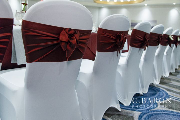A Beautiful Wedding At The Doubletree Houston Downtown With An Aggie Flair Event Planning By The Head Table Wedding Wedding Chair Sashes Wedding Table Linens