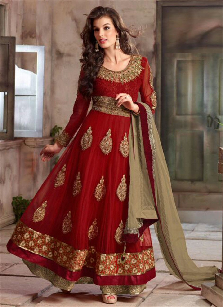 c719a3e8d4 Faux Georgette Salwar Kameez in Red and Maroon with Embroidered work ...