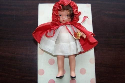 """NANCY ANN Storybook Doll Red Riding Hood Bisque 5.5"""" Jointed Box Wrist Tag #116"""