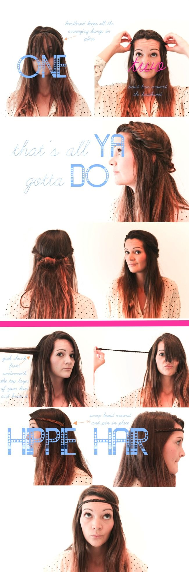 Hippie Hair (2 hairstyle how to's) hipster hair styles, u can do this without bangs