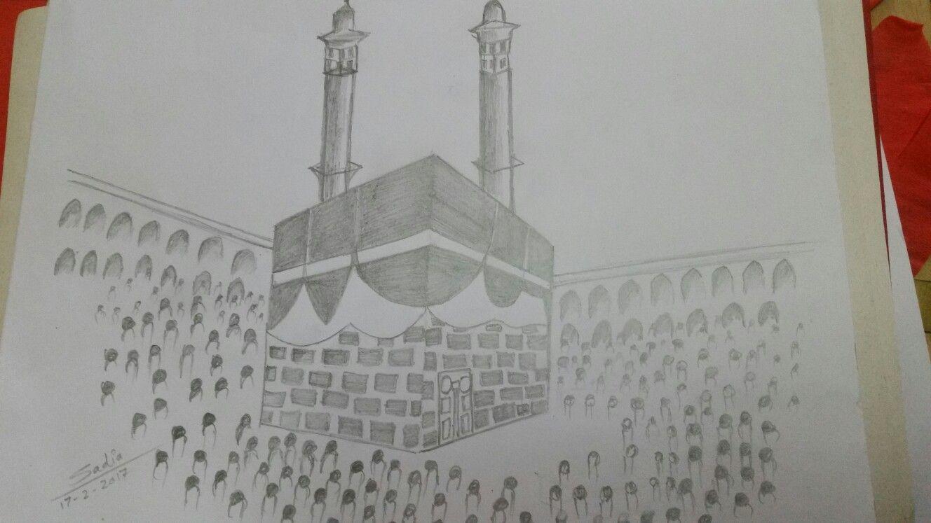 Pencil sketching of holy kaaba made by me jummah mubarak have a blessed friday art draw sketch islamic muslimah holykaaba makkah sadiacreation