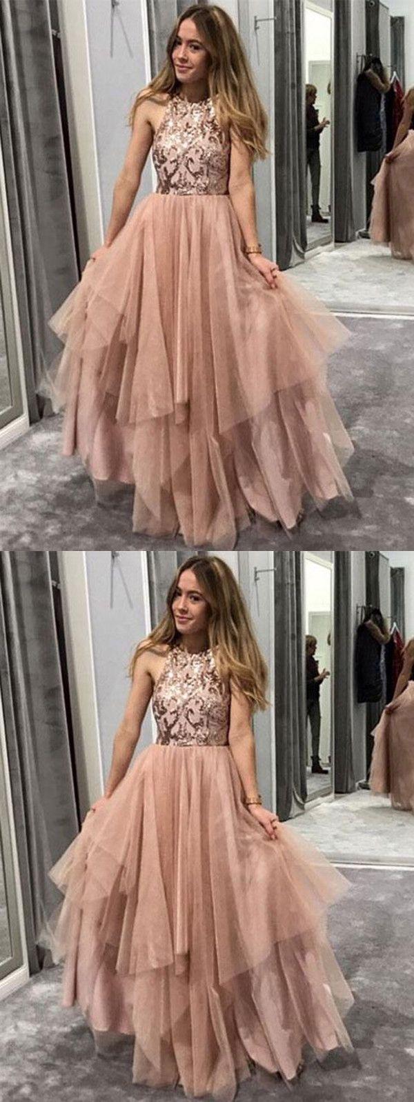 Chic pink prom dress african cheap beautiful long prom dress