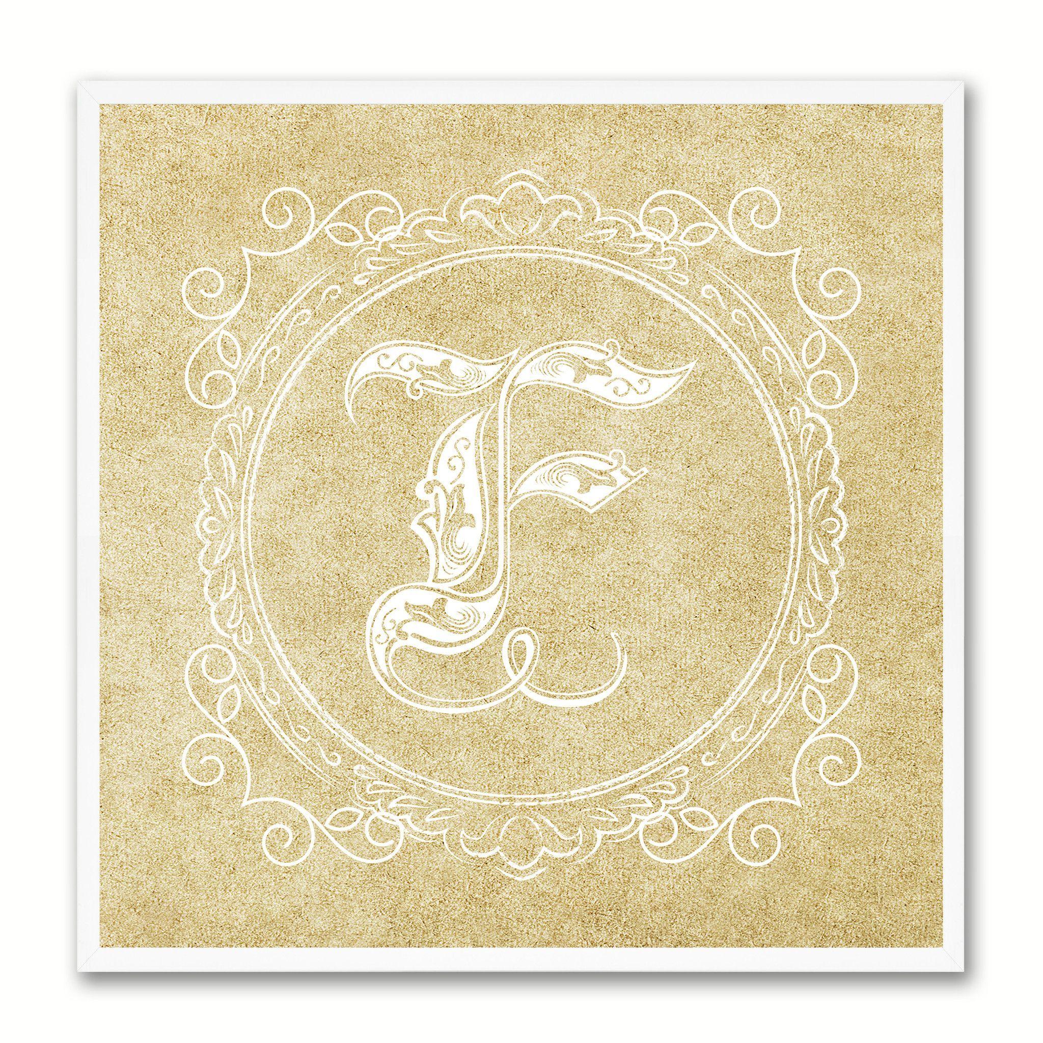 Alphabet Letter F Brown Canvas Print Black Frame Kids Bedroom Wall ...