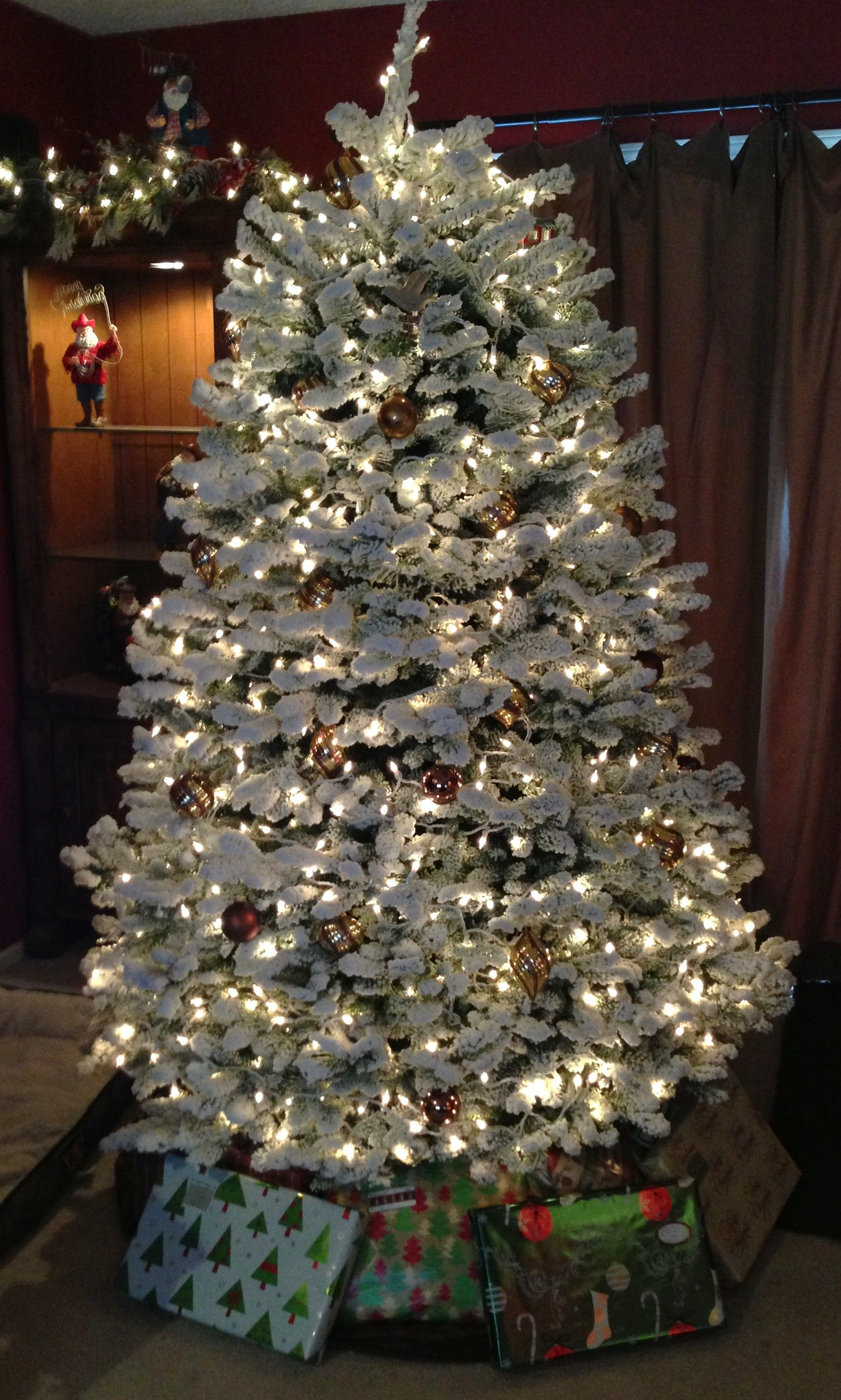 A Flocked Noble Fir Needs Little To No Decorating It S Stunning Even On Its Own Noble Fir Christmas Tree Fir Christmas Tree Christmas Tree