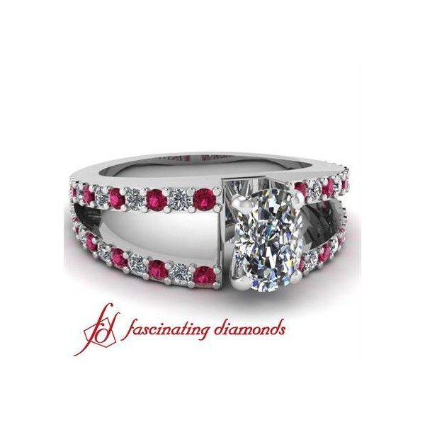 Pave Set Diamond Split Band Engagement Ring With Round & Pink Sapphire ($1,100)