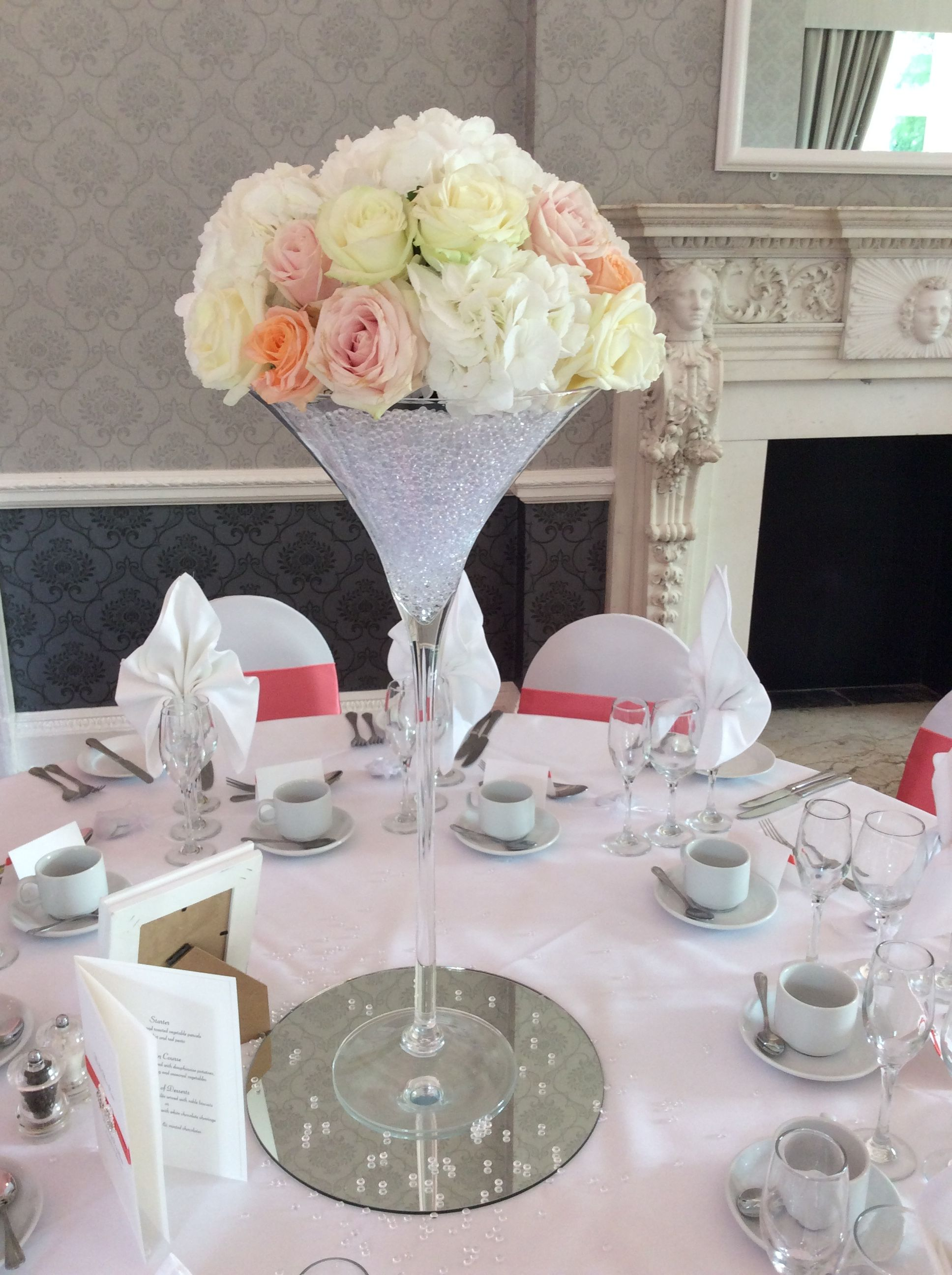 Rose And Hydrangea Centrepiece In Martini Vase By Add Style Uk Martini Vases Wine Glass Centerpieces Hydrangea Centerpiece
