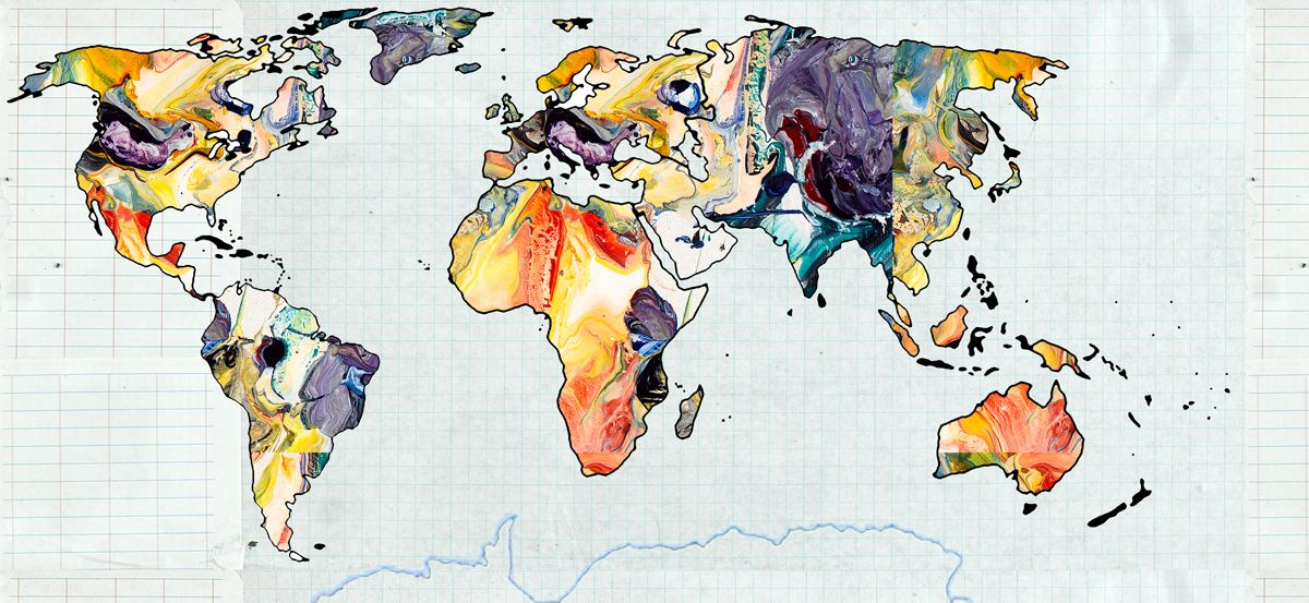 WORLD MAP 1 - Abstract Art Print Worldmap, Art prints and - new world map canvas picture